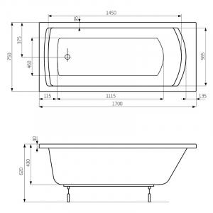 Ванна Linea 170x75 с ножками и правой панелью