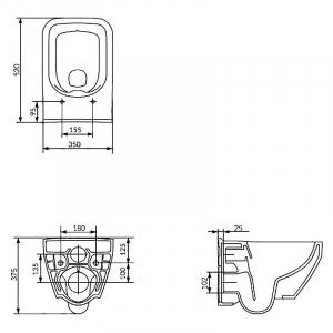 Інсталяційна система Aqua 52 QF c прямокутної чашею унітазу Crea