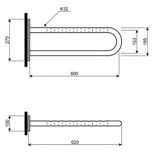 Поручень Lehnen Funktion 60 дугообразный, матовый хром