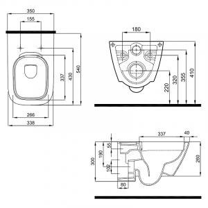 Инсталляционная система Duofix Delta + чаша унитаза Modo Pure Rimfree с сиденьем Slim