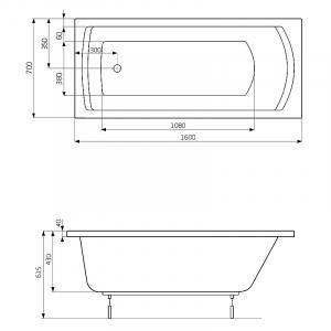 Ванна Linea 160x70 з ніжками