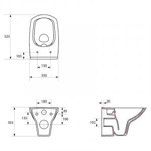 Инсталляционный модуль Rapid SL 38840000 + чаша унитаза Carina Clean On с сиденьем и креплением 3855800M