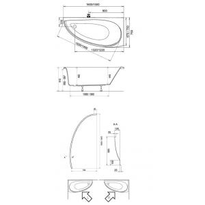 Акриловая ванна Avocado 150х75 правая
