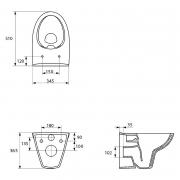 Інсталяційний модуль Link з кнопкою, чашею унітаза Parva Clean On, сидінням і звукоізоляцією