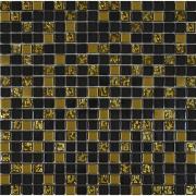 Мозаїка чорна-золото рельєф-золото мікс 913