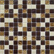 Мозаїка шоколад-охра-золото з малюнком мікс 2172