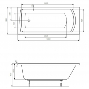Ванна Linea 180x80 с ножками