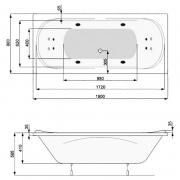Ванна Gemini 180x80 с ножками