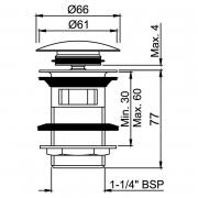 Донний клапан для раковини Click-Clack з переливом