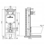 Инсталляционный модуль OLI80 4in1 с кнопкой Slim и звукоизоляцией