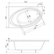 Ванна Orbita 160x100 ліва з ніжками