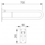 Поручень Lehnen Function 70 откидной, матовая поверхность
