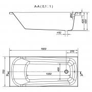 Ванна Nao 160x70 з ніжками