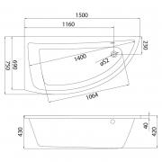 Акрилова ванна Nano 150x75 ліва