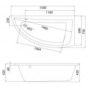 Акриловая ванна Nano 150x75 правая
