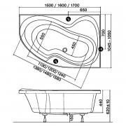 Акриловая ванна Rosa II 150х105 правая