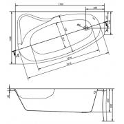 Акриловая ванна Sicilia 170x100 левая