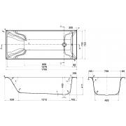 Акриловая ванна Фортуна 170x70 + ножки SN7