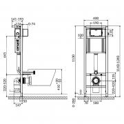 Инсталляционная система Aqua 02 c чашей унитаза Carina Clean On