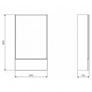 Шкафчик зеркальный Nova Pro 49,3, серый ясень