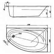Ванна Spring 170x100, левая
