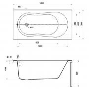 Ванна Nike 140x70 з ніжками