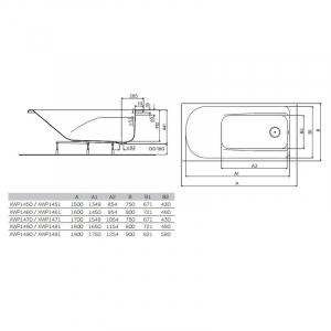 Ванна Comfort Plus 150x75 с ручками