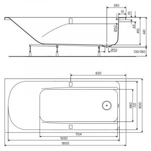 Ванна Comfort Plus 180 с ручками