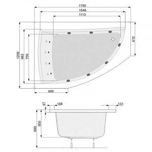 Ванна Aquamarina 175x120, левая