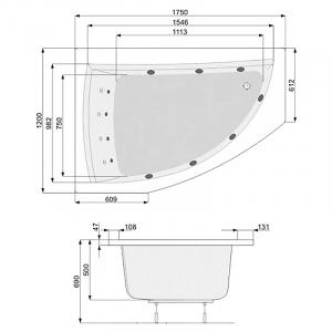 Ванна Aquamarina 175x120, правая