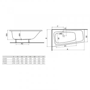 Ванна Split 150x80 левая с ножками