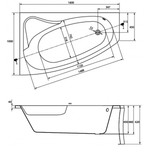 Акриловая ванна Sicilia 160x100 L