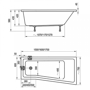 Ванна BeHappy II 160x75 левая