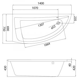 Акриловая ванна Nano 140x75 левая
