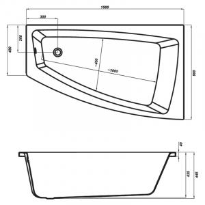 Ванна Virgo Max 160, правая с ножками