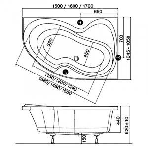 Акриловая ванна Rosa 160х105 правая