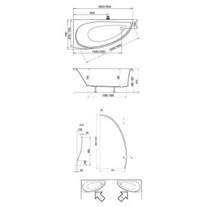 Акриловая ванна Avocado 160х75 L