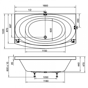 Акриловая ванна Evolution 182x102 PU PLUS