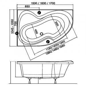 Акриловая ванна Rosa II 170х105 левая PU PLUS