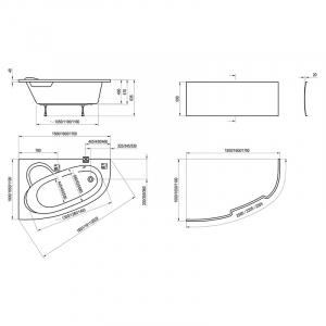 Ванна Asymmetric 170x110, левая