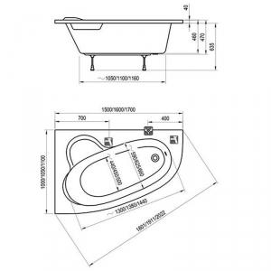 Ванна Asymmetric 160x105 L