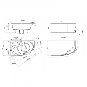 Акриловая ванна Rosa 95 150х95 правая