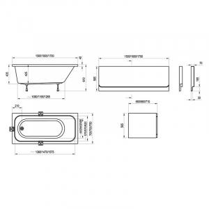 Акриловая ванна Chrome 150x70