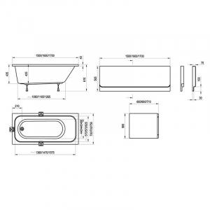 Акриловая ванна Chrome 160x70