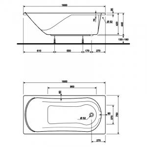 Акриловая ванна Comfort 160x75