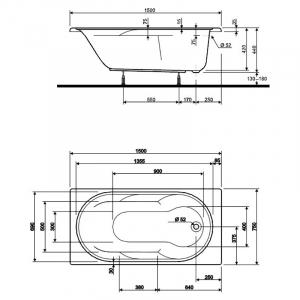 Акриловая ванна Laguna 150x75