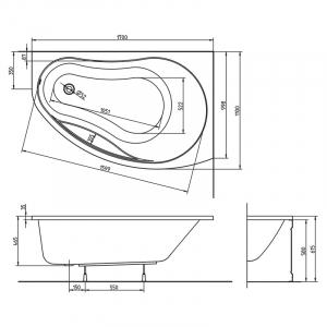Акриловая ванна Promise 170 правая с ножками