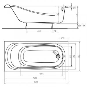 Ванна Saga 160x75