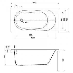 Ванна Nike 140x70 с ножками