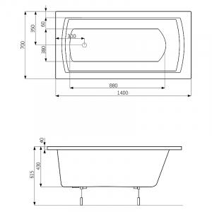 Ванна Linea 140x70 с ножками